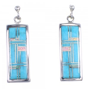 Sterling Silver Southwest Turquoise Opal Post Dangle Earrings RX66464