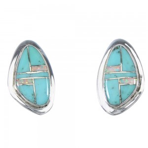 Turquoise Opal Inlay Sterling Silver Southwest Post Earrings RX66535