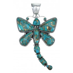 Southwest Authentic Sterling Silver Turquoise Dragonfly Pendant MX62990