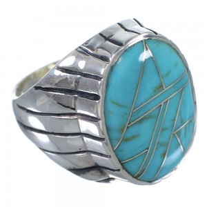 Southwest Authentic Sterling Silver And Turquoise Inlay Ring Size 12-1/2 VX62664