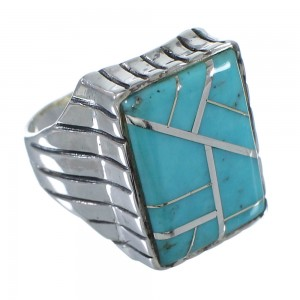 Sterling Silver And Turquoise Inlay Jewelry Ring Size 9-1/4 VX62676