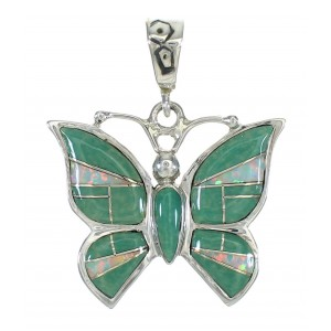 Sterling Silver Turquoise And Opal Butterfly Southwest Pendant WX63482