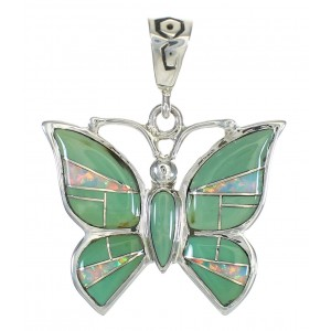 Sterling Silver Turquoise And Opal Butterfly Southwestern Pendant WX63486