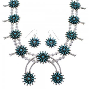 Turquoise And Sterling Silver Needlepoint Southwest Squash Blossom Necklace Set WX76064