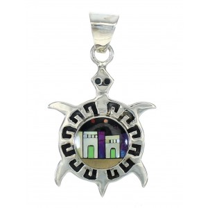 Multicolor Native American Pueblo Design Silver Turtle Pendant MX64305