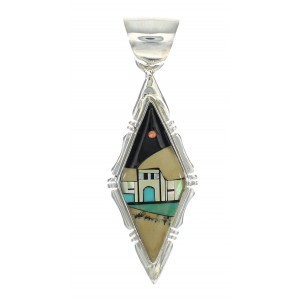 Native American Village Design Sterling Silver Multicolor Inlay Southwest Pendant MX64322