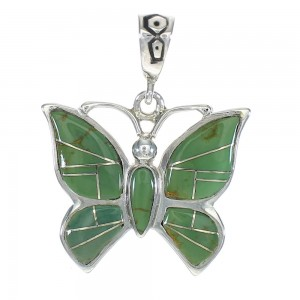 Butterfly Turquoise Inlay Sterling Silver Pendant MX62828