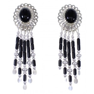 Genuine Sterling Silver Jewelry Onyx Concho Earrings CE5O