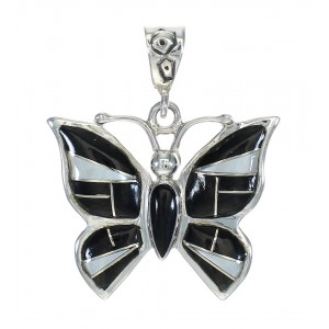 Butterfly Jet And Mother Of Pearl Sterling Silver Pendant MX62566