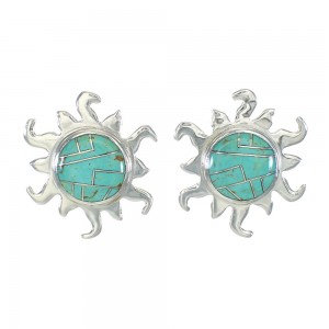 Turquoise Sun Sterling Silver Southwest Post Earrings MX63372