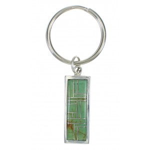Genuine Sterling Silver And Turquoise Inlay Southwest Key Chain VX62852