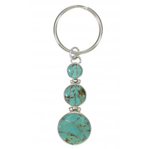 Southwest Authentic Sterling Silver Turquoise Key Chain VX62951
