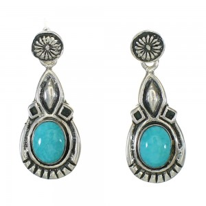 Turquoise Sterling Silver Jewelry Post Dangle Earrings MX63544
