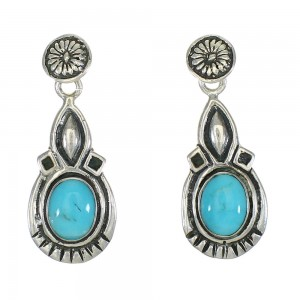 Genuine Sterling Silver And Turquoise Post Dangle Earrings MX63554