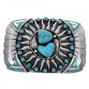 Sterling Silver Turquoise Sun Water Wave Belt Buckle AX78270
