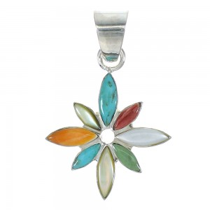 Genuine Sterling Silver Multicolor Flower Pendant MX65529