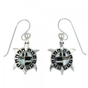 Jet And Mother Of Pearl Turtle Southwest Sterling Silver Hook Earrings WX63390