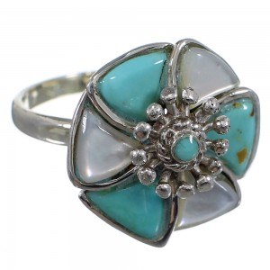 Southwest Sterling Silver Turquoise Mother Of Pearl Flower Ring Size 8-1/4 QX75737