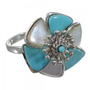 Turquoise Mother Of Pearl Silver Flower Ring Size 7-1/4 QX75762