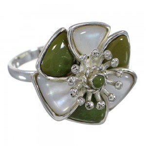 Turquoise Mother Of Pearl Flower Southwestern Sterling Silver Ring Size 8-1/2 QX75800