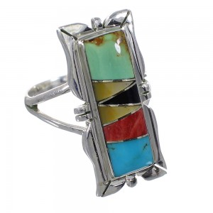 Multicolor Inlay Southwest Sterling Silver Ring Size 7-3/4 QX75861