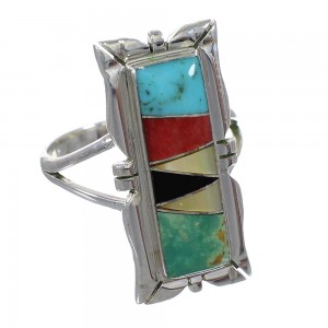 Multicolor Inlay Sterling Silver Southwest Ring Size 8-1/2 QX75869