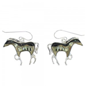 Native American Village Design Multicolor Sterling Silver Horse Hook Dangle Earrings WX78948