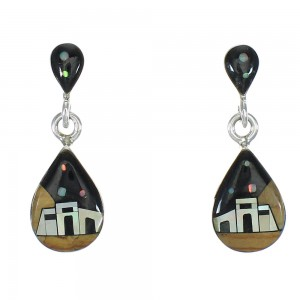 Native American Village Design Multicolor Silver Tear Drop Post Dangle Earrings WX79020