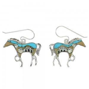 Native American Village Design Multicolor Silver Horse Hook Dangle Earrings WX79071