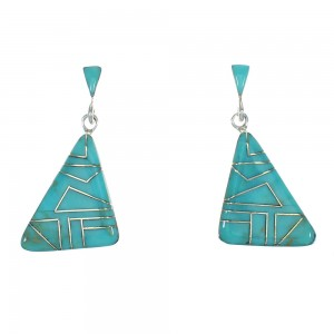 Authentic Sterling Silver Turquoise Inlay Southwest Post Dangle Earrings QX78722