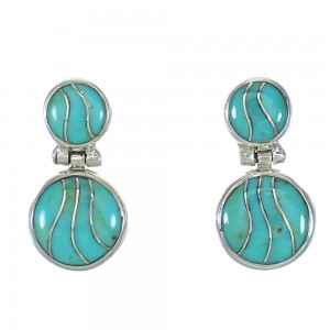 Turquoise Inlay Southwestern Sterling Silver Post Dangle Earrings QX78825