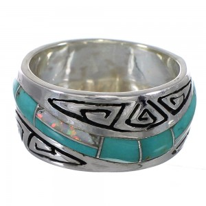 Southwest Authentic Sterling Silver Turquoise Opal Water Wave Ring Size 5-1/4 QX82285