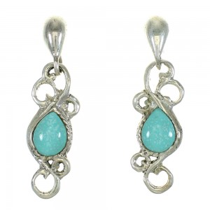 Authentic Sterling Silver Turquoise Post Dangle Earrings MX64716