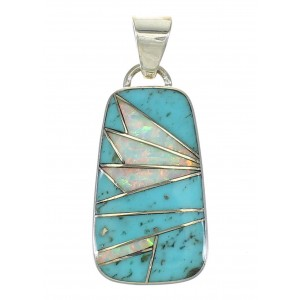 Turquoise Opal Inlay Southwest Genuine Sterling Silver Pendant MX63859
