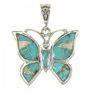 Southwest Sterling Silver Opal And Turquoise Butterfly Pendant MX63868
