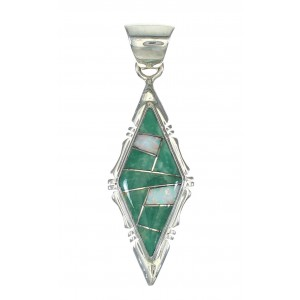 Turquoise Opal Inlay Silver Southwest Jewelry Pendant MX63957