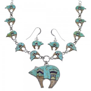 Multicolor Bear Mesa Design Sterling Silver Link Necklace Set WX71703