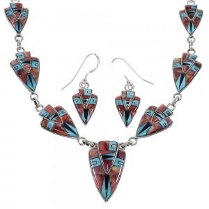 Multicolor Inlay Genuine Sterling Silver Southwestern Link Necklace Set WX71732