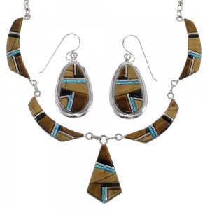 Southwest Multicolor Sterling Silver Link Necklace Set WX71742