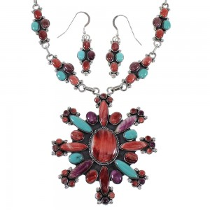 Multicolor Genuine Sterling Silver Southwestern Link Necklace And Earrings Set WX71799