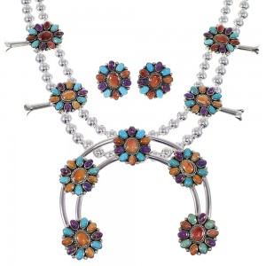 Southwest Multicolor Sterling Silver Squash Blossom Necklace Set WX71800