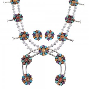 Southwestern Multicolor Sterling Silver Squash Blossom Necklace Set WX71807
