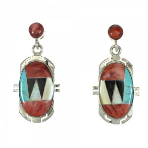 Southwest Silver Multicolor Inlay Post Dangle Earrings MX64416