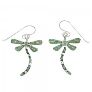 Turquoise Silver Dragonfly Hook Dangle Earrings AX78576