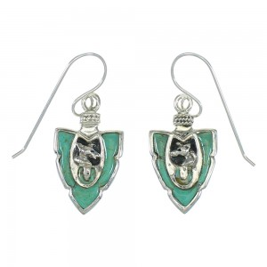 Turquoise Inlay Silver Horse And Arrowhead Hook Dangle Earrings AX78676
