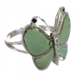 Turquoise And Sterling Silver Southwestern Butterfly Ring Size 8-1/4 YX80150