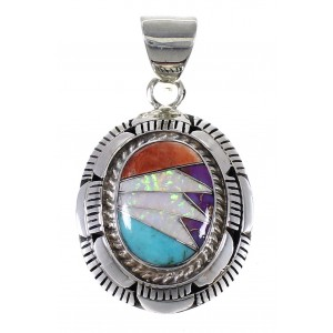 Southwest Authentic Sterling Silver And Multicolor Inlay Pendant VX64491