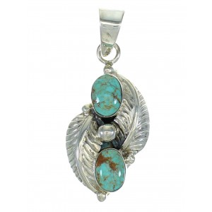 Turquoise Sterling Silver Leaf Pendant MX65310