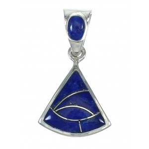 Silver Lapis Inlay Southwest Pendant MX64147