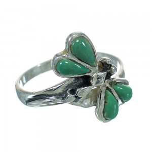 Turquoise Inlay Southwestern Sterling Silver Dragonfly Jewelry Ring Size 8-1/2 AX79482